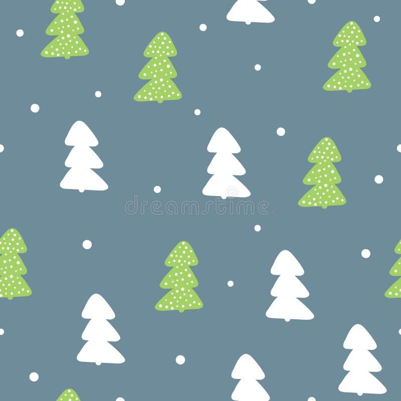 Картина Нового Года безшовная Повторенные силуэты деревьев и круглых снежинок иллюстрация штока