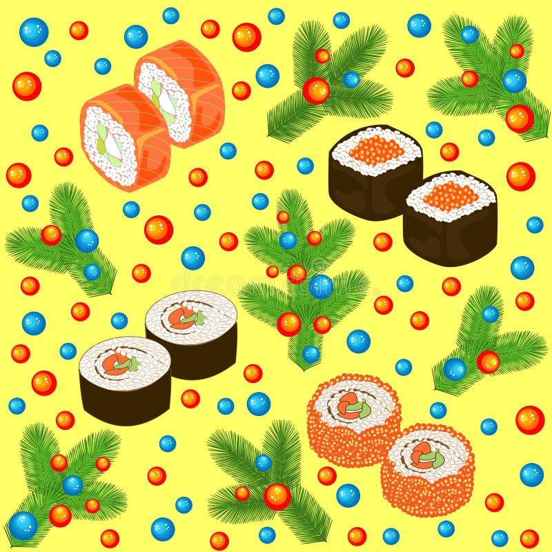 Картина Нового Года безшовная Суши, крены и ветви рождественской елки, украшенные с яркими шариками Соответствующий для паковать иллюстрация вектора