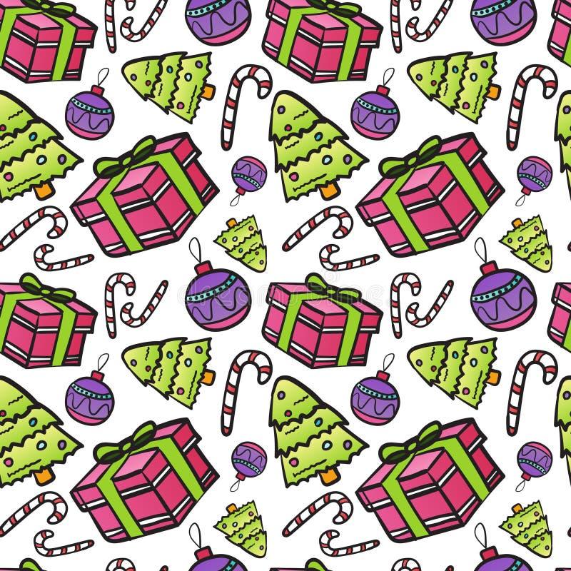 Картина Нового Года безшовная с конфетами и подарками рождественской елки на белом орнаменте зимнего отдыха предпосылки иллюстрация штока