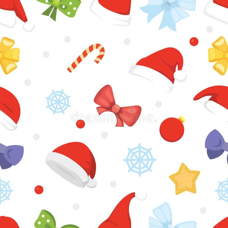 Картина Нового Года безшовная шляп рождества и украшений, звезды, конфеты, снежинки иллюстрация вектора