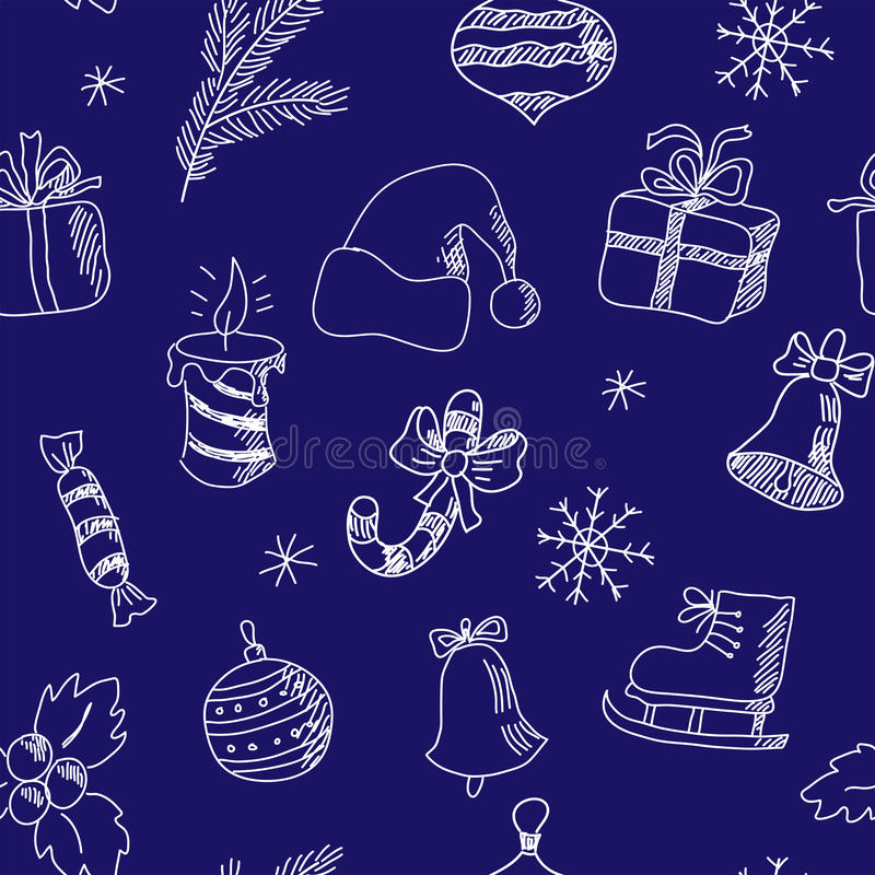 Download Картина Нового Года безшовная с элементами зимнего отдыха Иллюстрация вектора - иллюстрации насчитывающей весело, конфета: 81815230