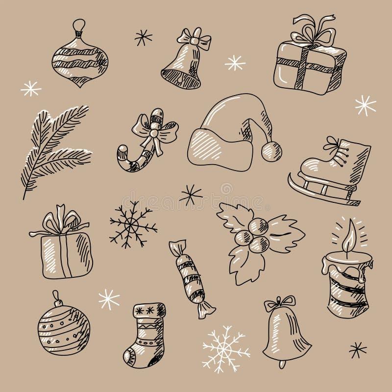 Download Картина Нового Года безшовная с элементами зимы Иллюстрация вектора - иллюстрации насчитывающей декоративно, контур: 81815180