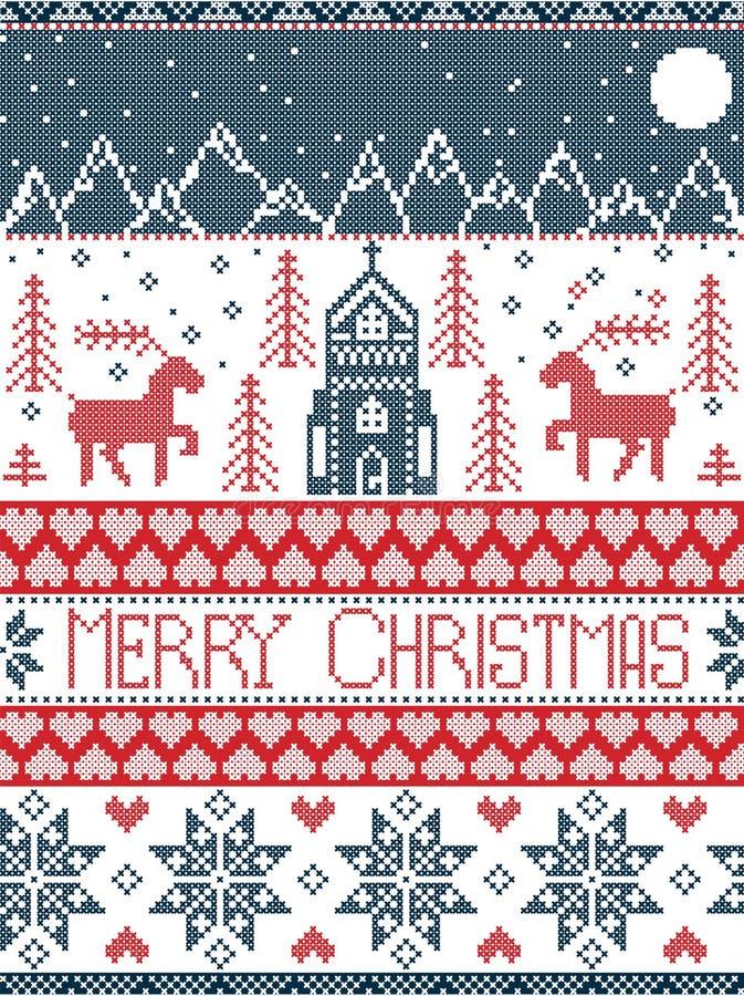 Картина нордического стиля с Рождеством Христовым в красной и белом включая деревню страны чудес зимы, церковь, деревья xmas, гор иллюстрация штока