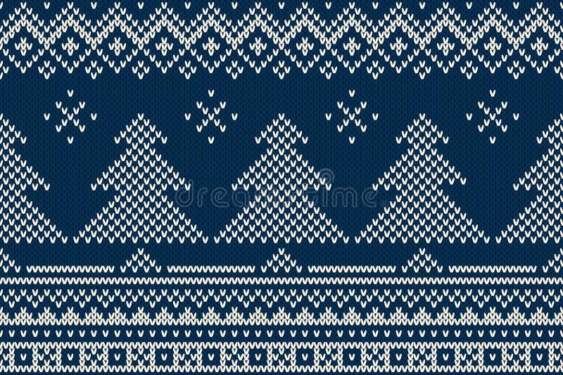 Картина нордического традиционного справедливого стиля острова безшовная связанная иллюстрация вектора