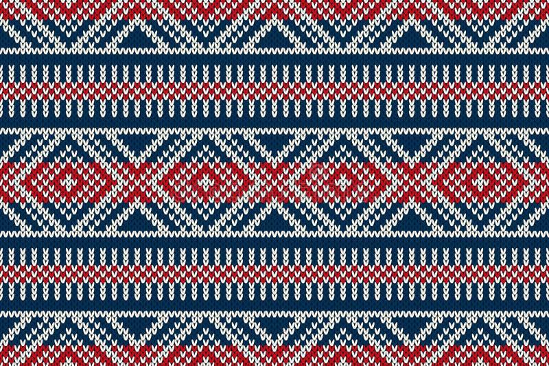 Картина нордического традиционного справедливого стиля острова безшовная связанная иллюстрация штока