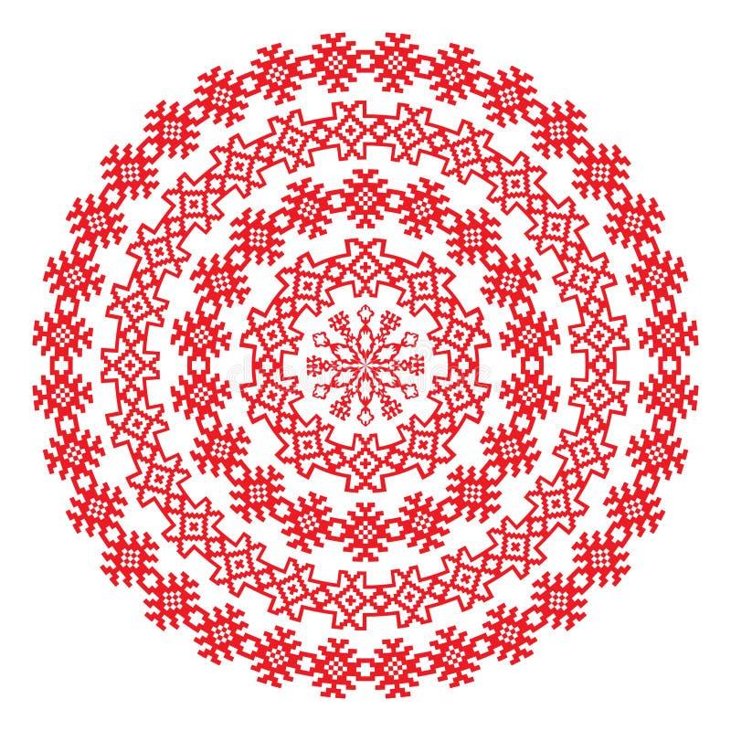 Картина нордической этнической границы круглая в красном цвете бесплатная иллюстрация