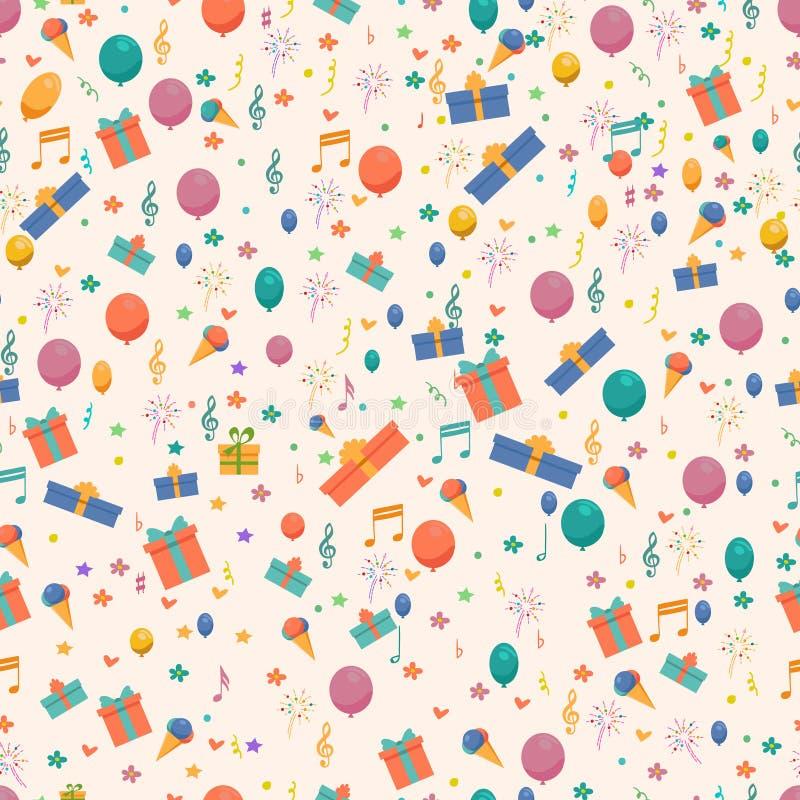 Картина дня рождения безшовная с цветками и воздушными шарами, подарками мороженого, Confetti бесплатная иллюстрация