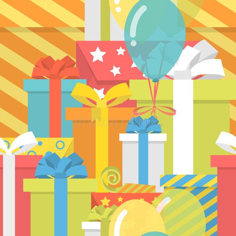 Картина дня рождения с подарками иллюстрация вектора