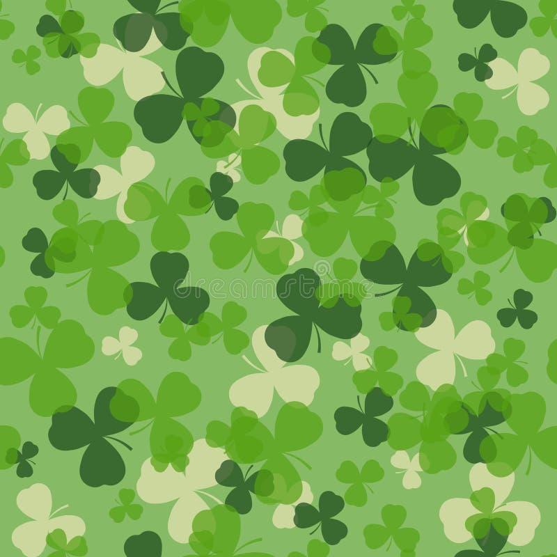 Картина дня St. Patrick вектора безшовная Зеленый и белый клевер выходит на зеленую предпосылку иллюстрация штока