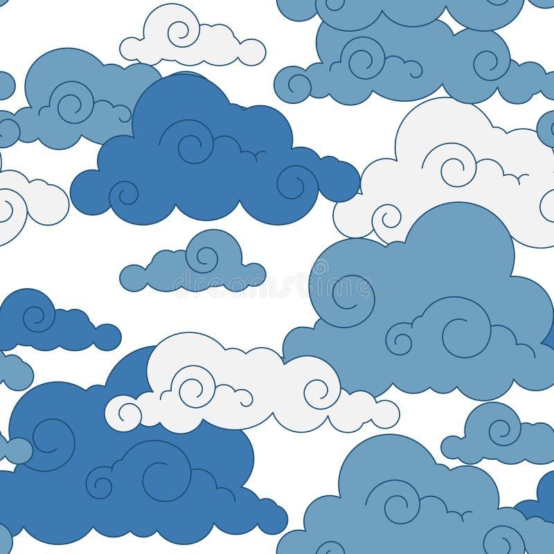 Картина облака год сбора винограда китайская безшовная бесплатная иллюстрация