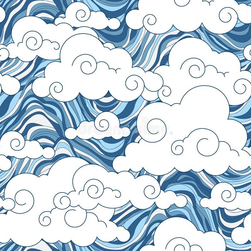 Картина облака год сбора винограда китайская безшовная иллюстрация штока