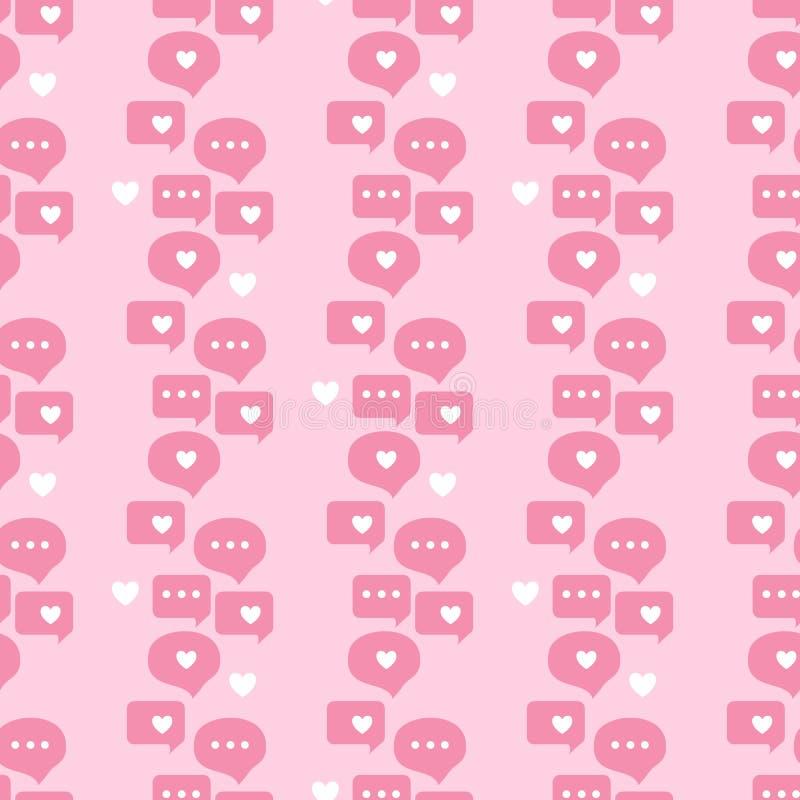 Картина облаков речи диалога болтовни милая безшовная Комментарии конспекта иллюстрации вектора и беседа сообщения на розовой пре иллюстрация вектора