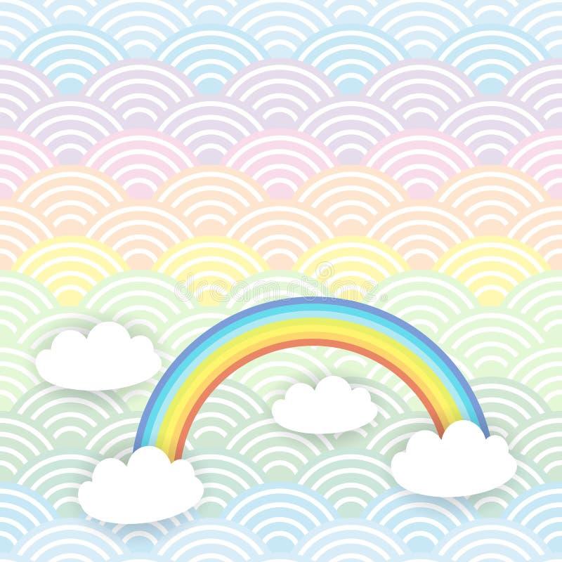 Картина облаков Kawaii дизайна знамени карты белая на предпосылке радуги волны мяты сини оранжевой японской вектор иллюстрация штока