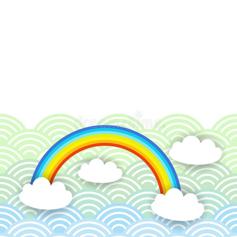 Картина облаков Kawaii дизайна знамени карты белая на предпосылке радуги волны мяты сини оранжевой японской вектор бесплатная иллюстрация