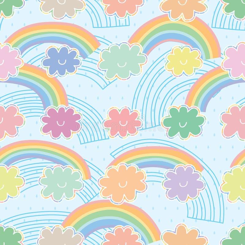 Картина облака радуги пастельная красочная безшовная иллюстрация штока