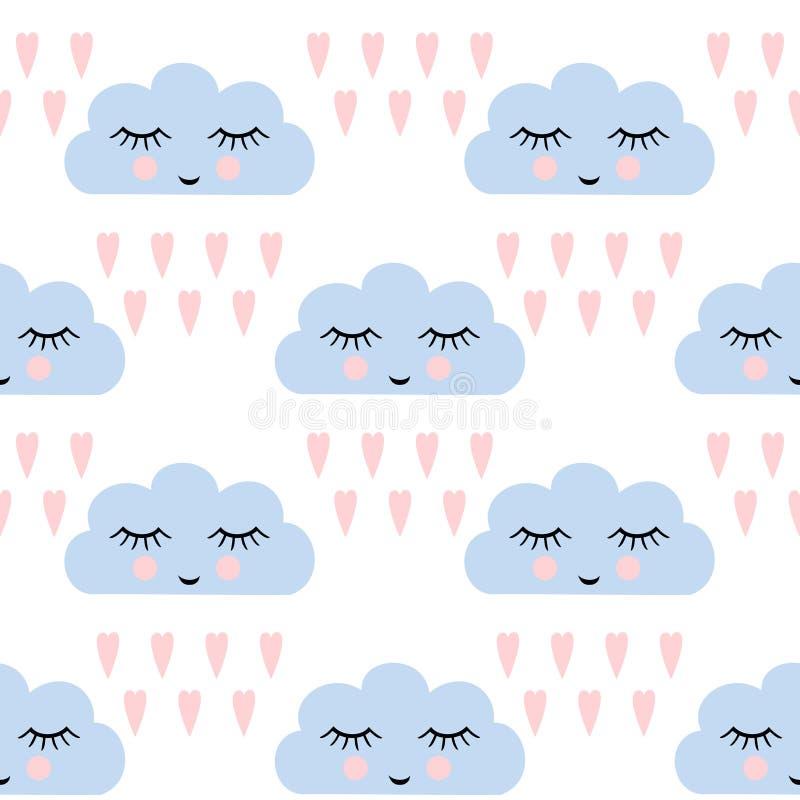 Картина облаков Безшовная картина с усмехаясь облаками и сердцами спать на праздники детей Милая предпосылка вектора детского душ иллюстрация вектора