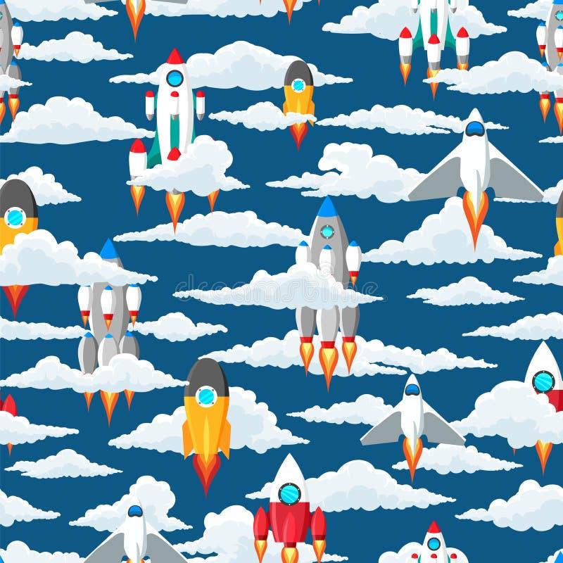 Картина облаков и космических кораблей безшовная иллюстрация вектора