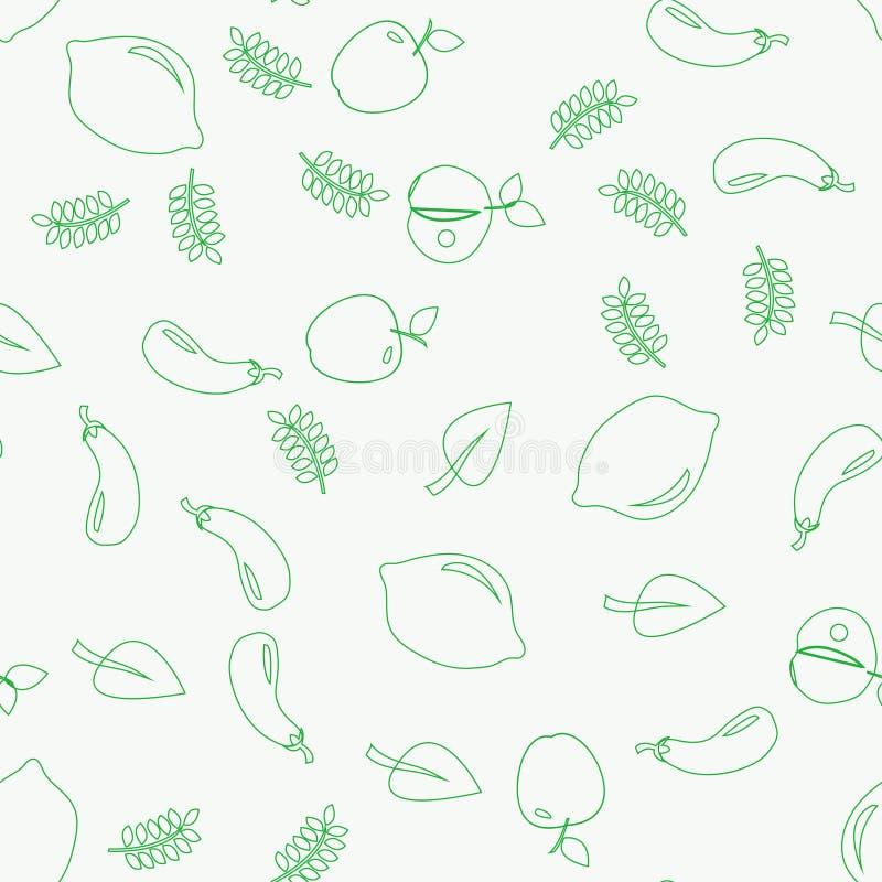 Картина овощей вектора зеленая Овощи безшовные бесплатная иллюстрация