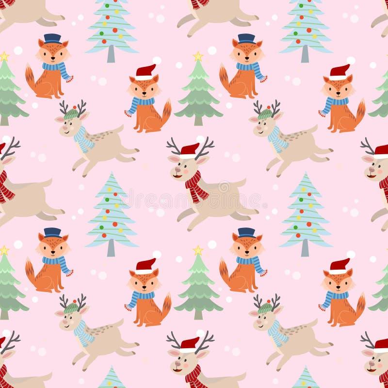 Картина оленей и лисы рождества безшовная иллюстрация вектора