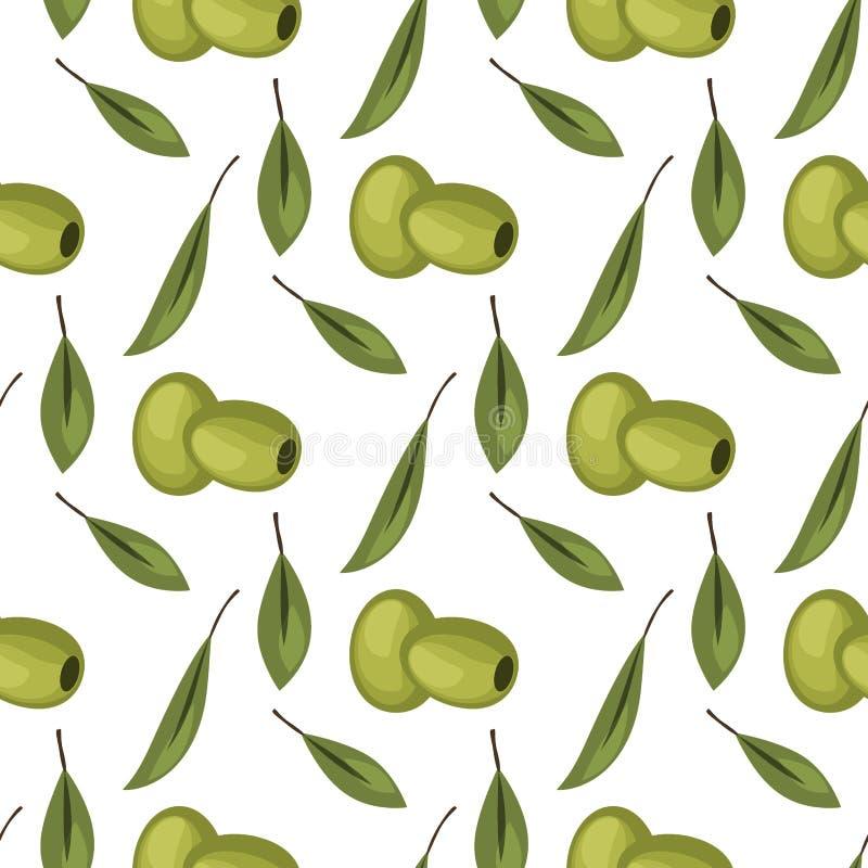 Картина оливок безшовная с иллюстрацией вектора дизайна предпосылки зрелых оливок для оливкового масла, естественных косметик иллюстрация штока