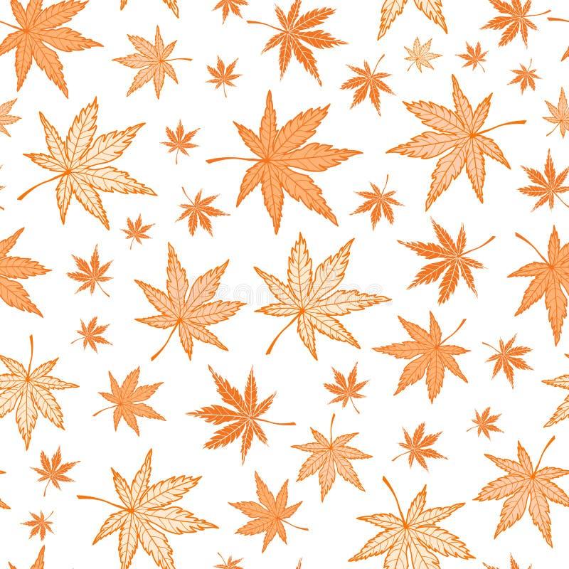 Картина оранжевого вектора кленовых листов осени безшовная бесплатная иллюстрация