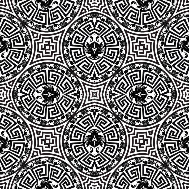 Картина орнаментального черно-белого греческого вектора безшовная Цветки стиля барокко, листья Повторите богато украшенную геомет иллюстрация штока
