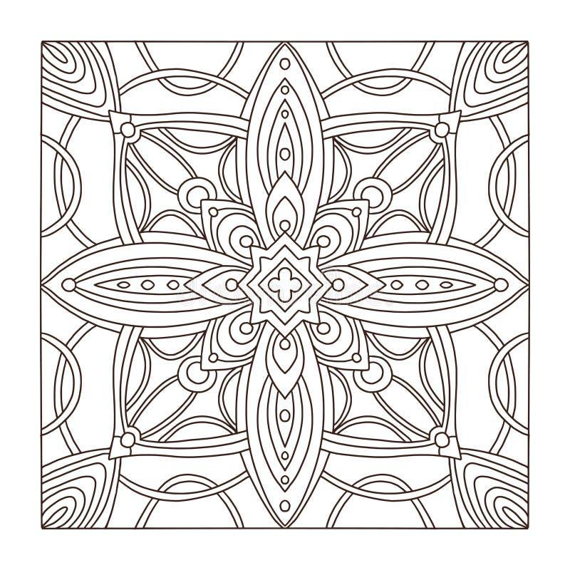Картина орнамента плитки квадрата ковра Взрослая страница книжка-раскраски Внутренняя геометрическая печать плитки бесплатная иллюстрация