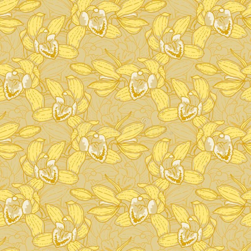 картина орхидеи безшовная иллюстрация вектора