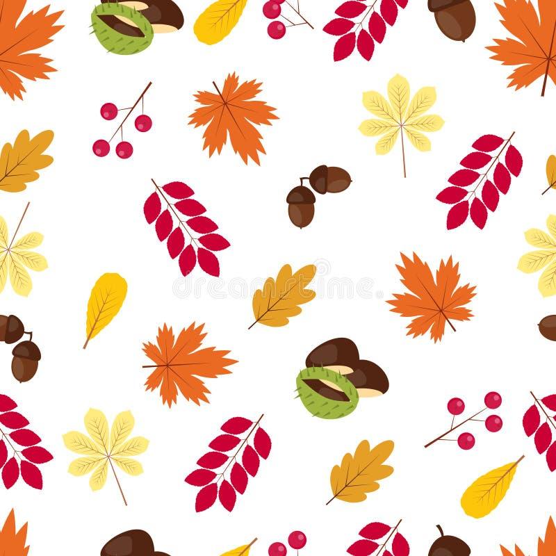 Картина осени безшовная: листья, жолуди, ягоды и каштаны иллюстрация вектора