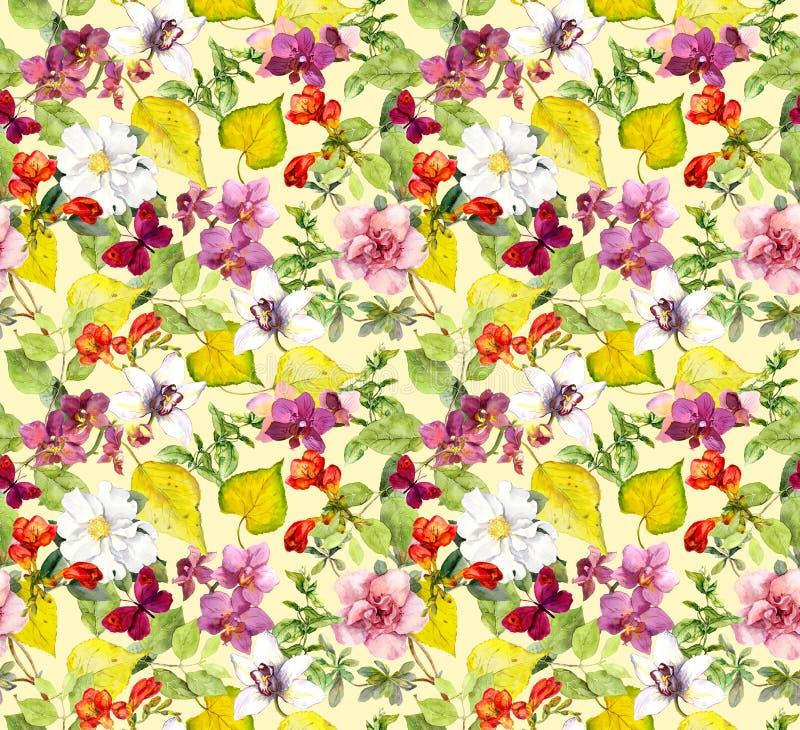 картина осени безшовная Листья желтого цвета, цветки Флористическая предпосылка акварели стоковые фотографии rf