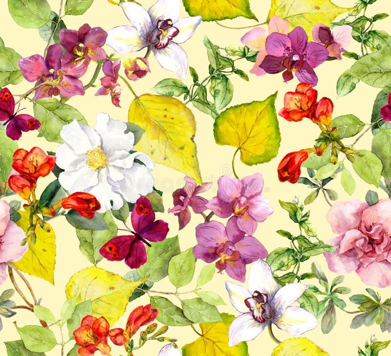картина осени безшовная Листья желтого цвета, цветки Флористическая предпосылка акварели иллюстрация вектора
