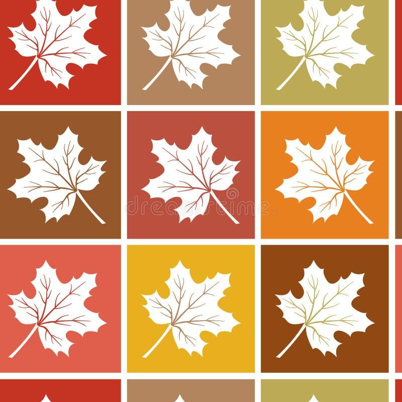 Картина осени безшовная с белыми кленовыми листами на квадрате также вектор иллюстрации притяжки corel иллюстрация штока