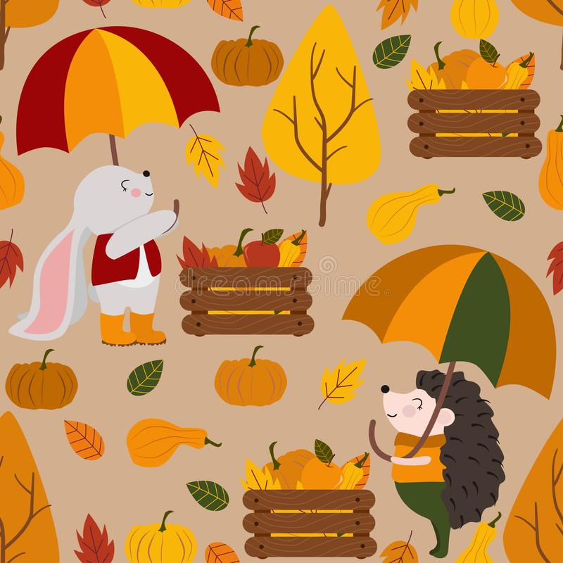 Картина осени безшовная с зонтиком ежа зайчика - иллюстрацией вектора, eps бесплатная иллюстрация