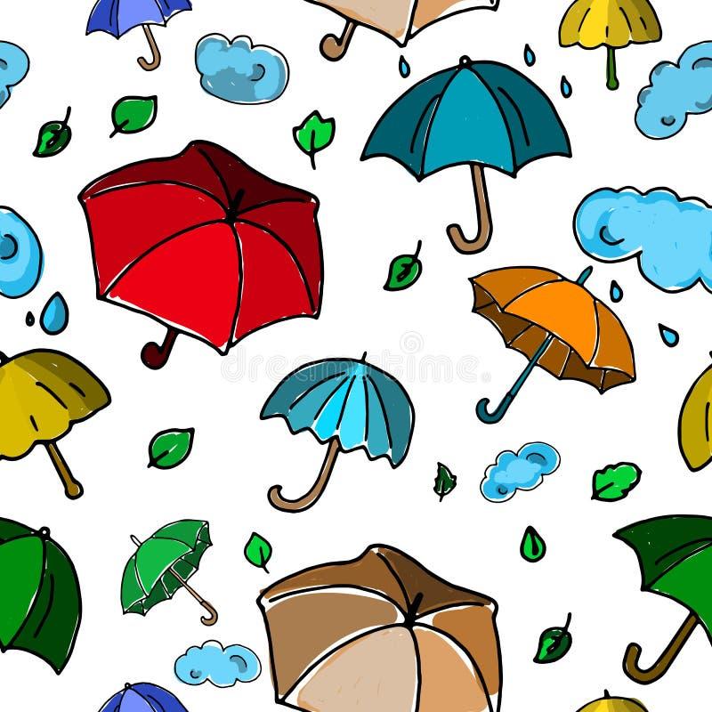 Картина осени безшовная с красочными зонтиками на белом backgro иллюстрация вектора