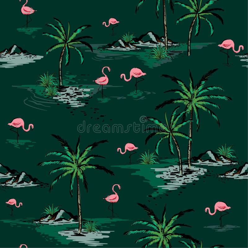 Картина острова ультрамодного лета красивая безшовная на темном ом-зелен ба бесплатная иллюстрация