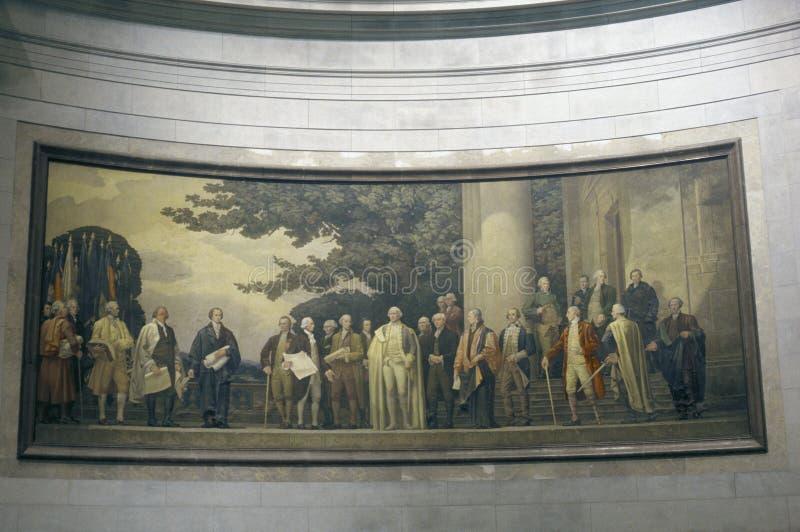 Картина отец-основателей внутри национальных архивов, DC Вашингтона стоковые изображения