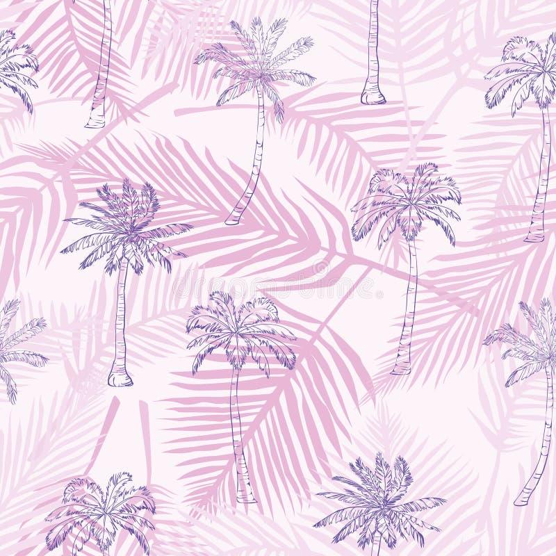 Картина пальмы Безшовной текстуры нарисованные рукой на экзотической ультрамодной предпосылке Печать ткани природы Современное тр стоковое фото rf