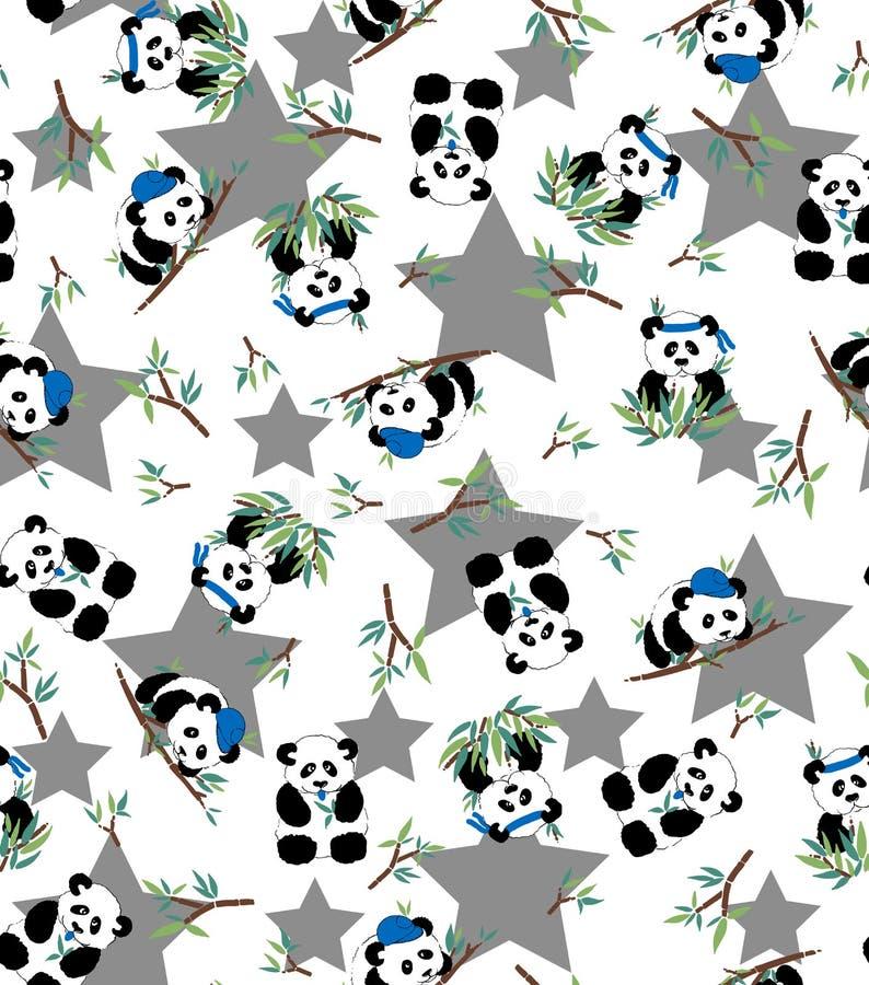 Картина панды и бамбука с предпосылкой звезды 10 eps стоковое изображение rf