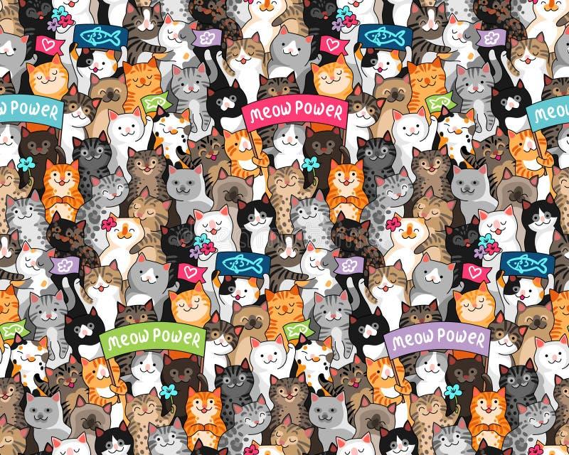 Картина парада котов иллюстрация штока