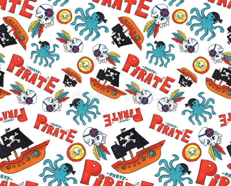 Картина партии пирата безшовная красочные объекты повторяя предпосылку для сети и цели печати искусство отметки бесплатная иллюстрация