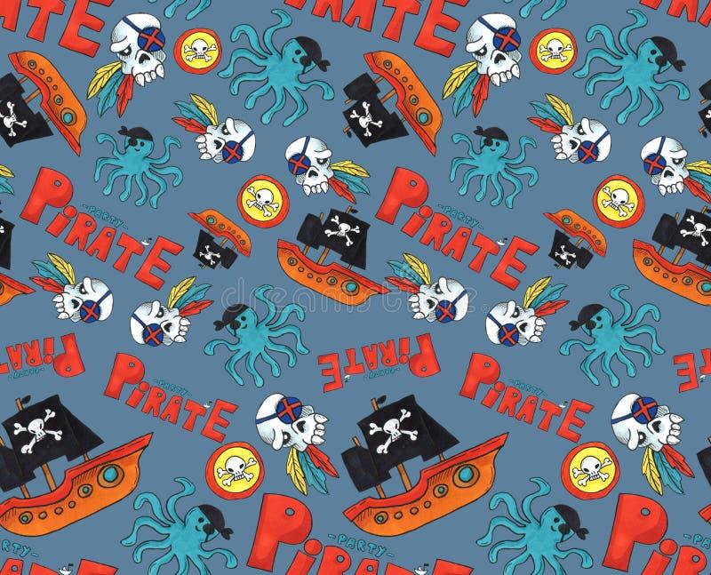 Картина партии пирата безшовная красочные объекты повторяя предпосылку для сети и цели печати предпосылка искусства отметки голуб бесплатная иллюстрация