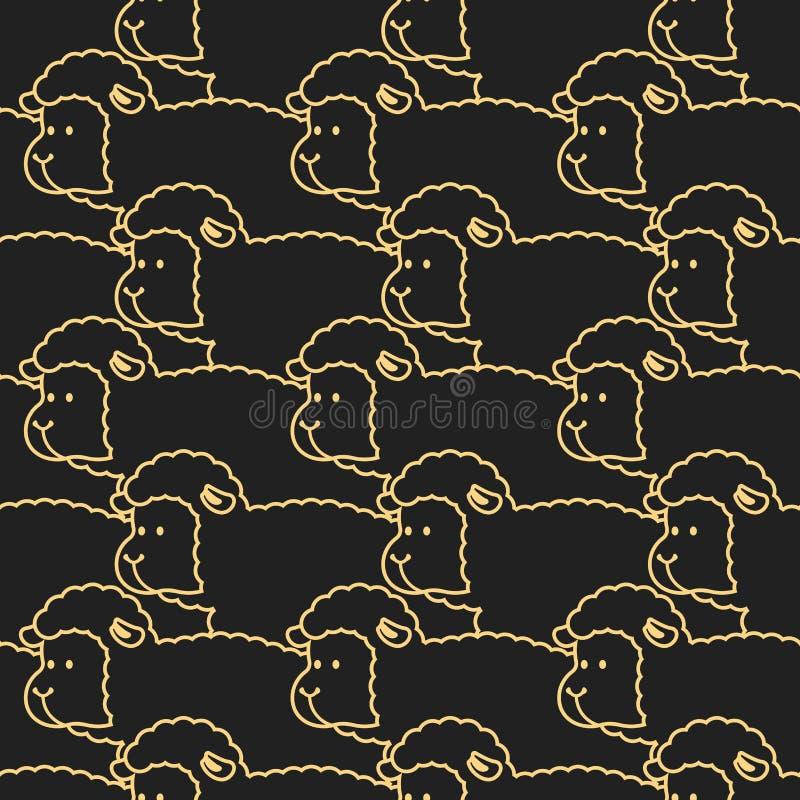 Картина паршивых овец орнамент овцы Стая овец 7 животных серий иллюстрации фермы шаржа иллюстрация вектора