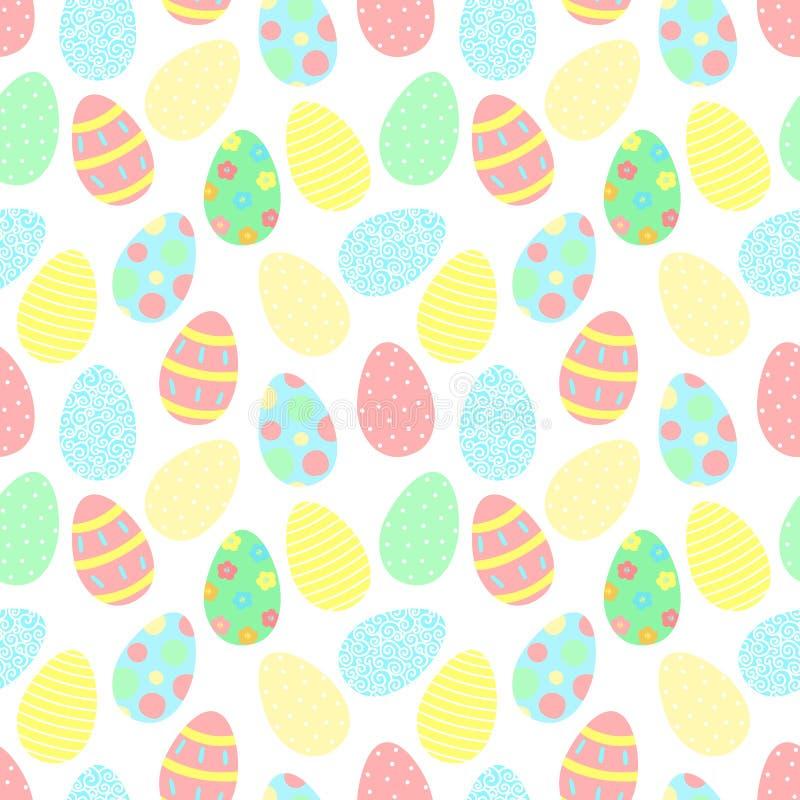 Картина пасхи безшовная красочных яя с украшениями на прозрачной предпосылке Иллюстрация вектора нарисованная вручную на весна h иллюстрация вектора