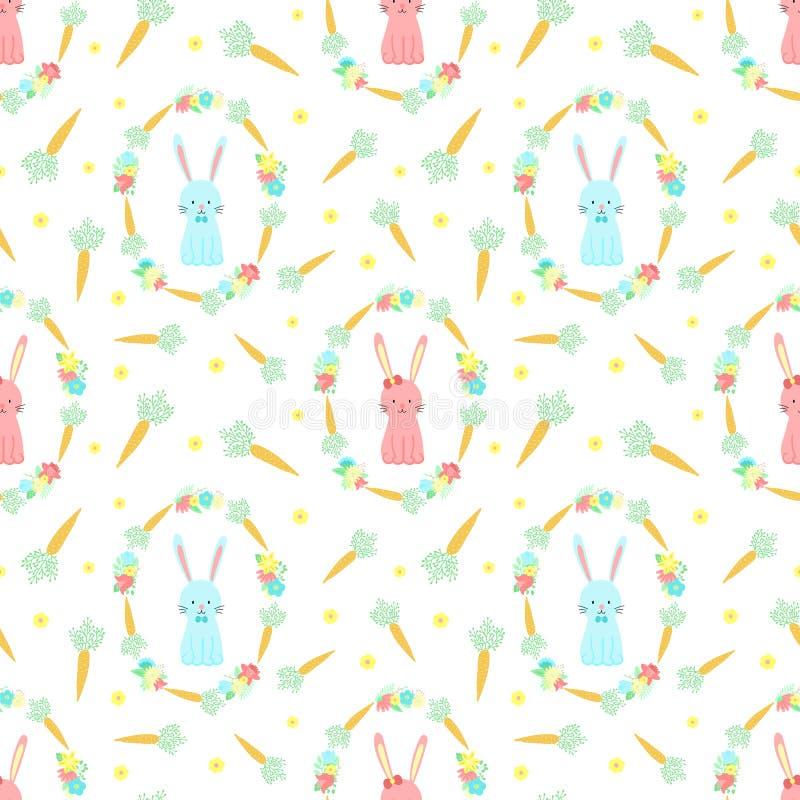 Картина пасхи безшовная с кроликами, морковами и цветками на прозрачной предпосылке Иллюстрация вектора нарисованная вручную зайч иллюстрация штока