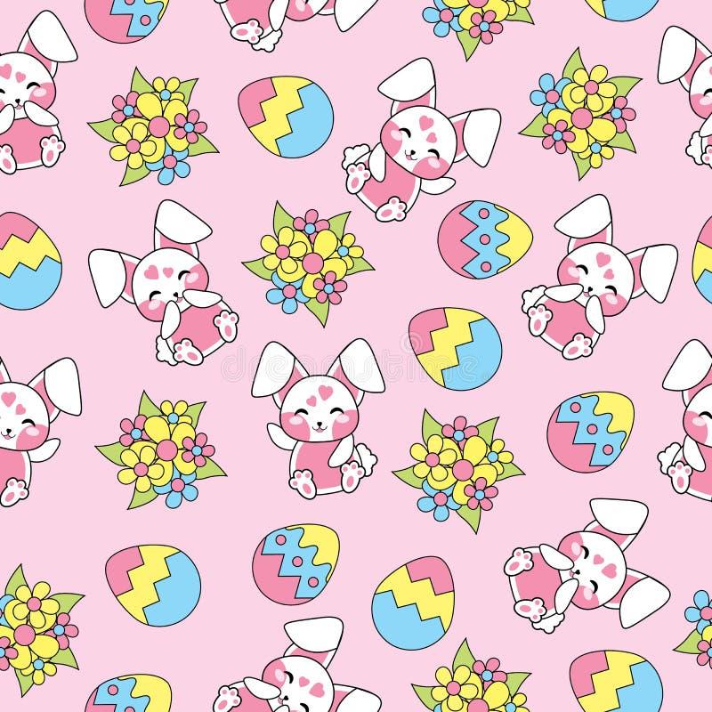 Картина пасхи безшовная с милыми кроликами, цветками и красочными яичками на розовой предпосылке для обоев ребенк иллюстрация штока