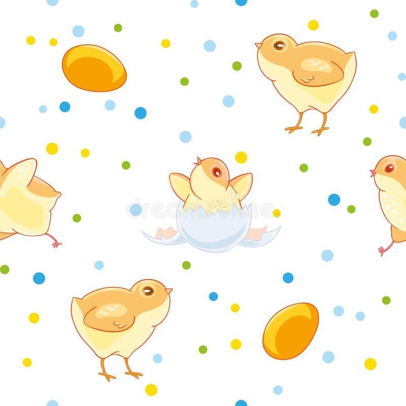 Картина пасхи безшовная с милыми цыплятами и valuewise от яичка цыпленок на предпосылке покрашенного confetti иллюстрация штока