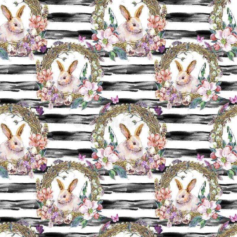 Картина пасхи весны акварели счастливая безшовная стоковые фотографии rf