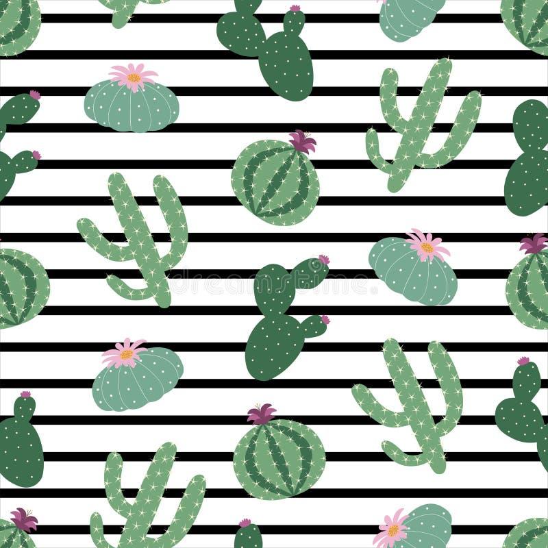 Картина пейотля кактуса зеленых растений безшовная на черно-белом иллюстрация штока
