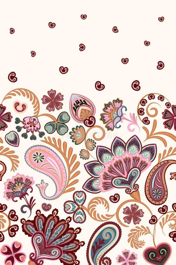 Картина Пейсли стиля штофа флористическая вертикальная безшовная Вектор EPS8 иллюстрация штока