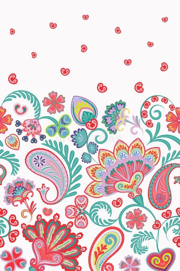 Картина Пейсли стиля штофа флористическая вертикальная безшовная Вектор EPS8 бесплатная иллюстрация